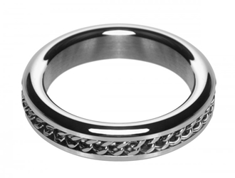 Metal Cock Ring with Chain Inlay- 1.75 In Cock Rings, Metal Cock Rings