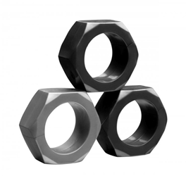 Tom of Finland 3 Piece Cock Nuts Cock Rings, Multi-Ring Cock Rings
